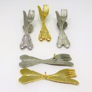 Fork & Knife Pins, gold, silver & Pewter like finish