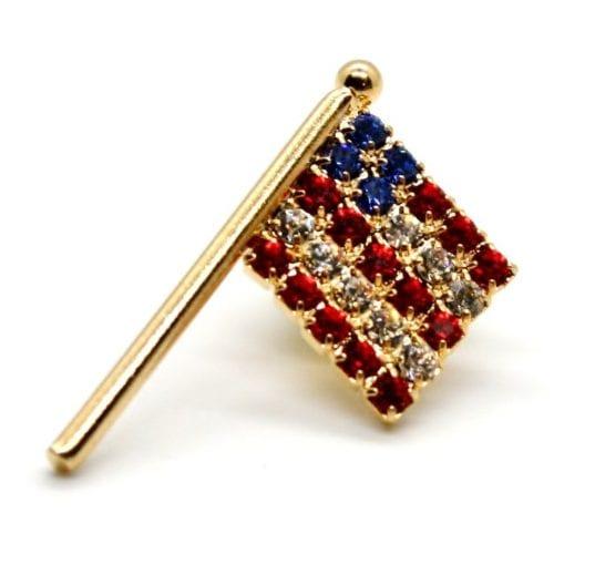 Rhinestone American Flag Pins