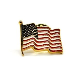 Wave American Flag Pin, Hand Painted