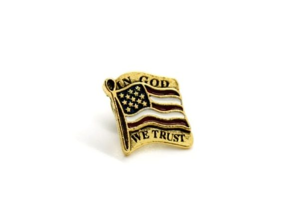 American Flag Pin, In God we Trust