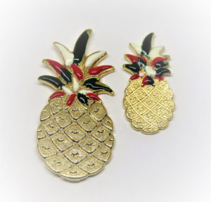 Large and Medium Hand Painted Pineapple Pin (Italian Colors)