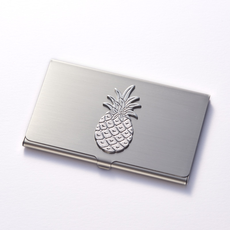 Pineapple Brass Card Case (Silver Finish)