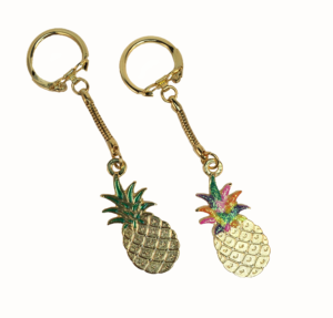 Latch Top Pineapple Key Chain (Silver/Gold) (Hand-Painted)