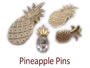 Pineapple Pins, Swarovski Crystal, Small, Medium, Large