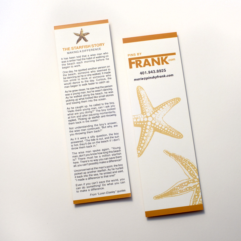 """Starfish Story Bookmark, about """"Making a Difference."""""""
