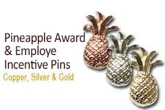 Small pineapple pins available in gold, silver and copper finishes, Pins By Frank