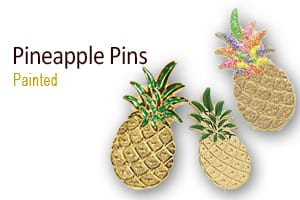 Pineapple Pins, Hand Painted,